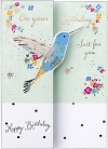 Birthday Card - Hummingbird & Blooms; Ladies Birthday Card