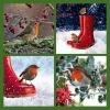 Christmas Cards - Four Robins with Green Border - Pack of 10 - CMS - E2014